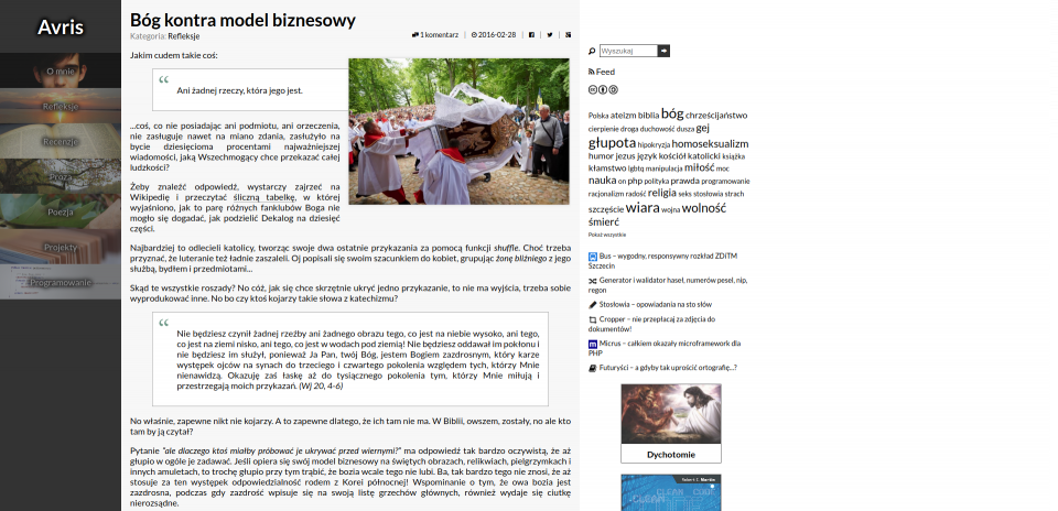 Screenshot of the homepage in version 2