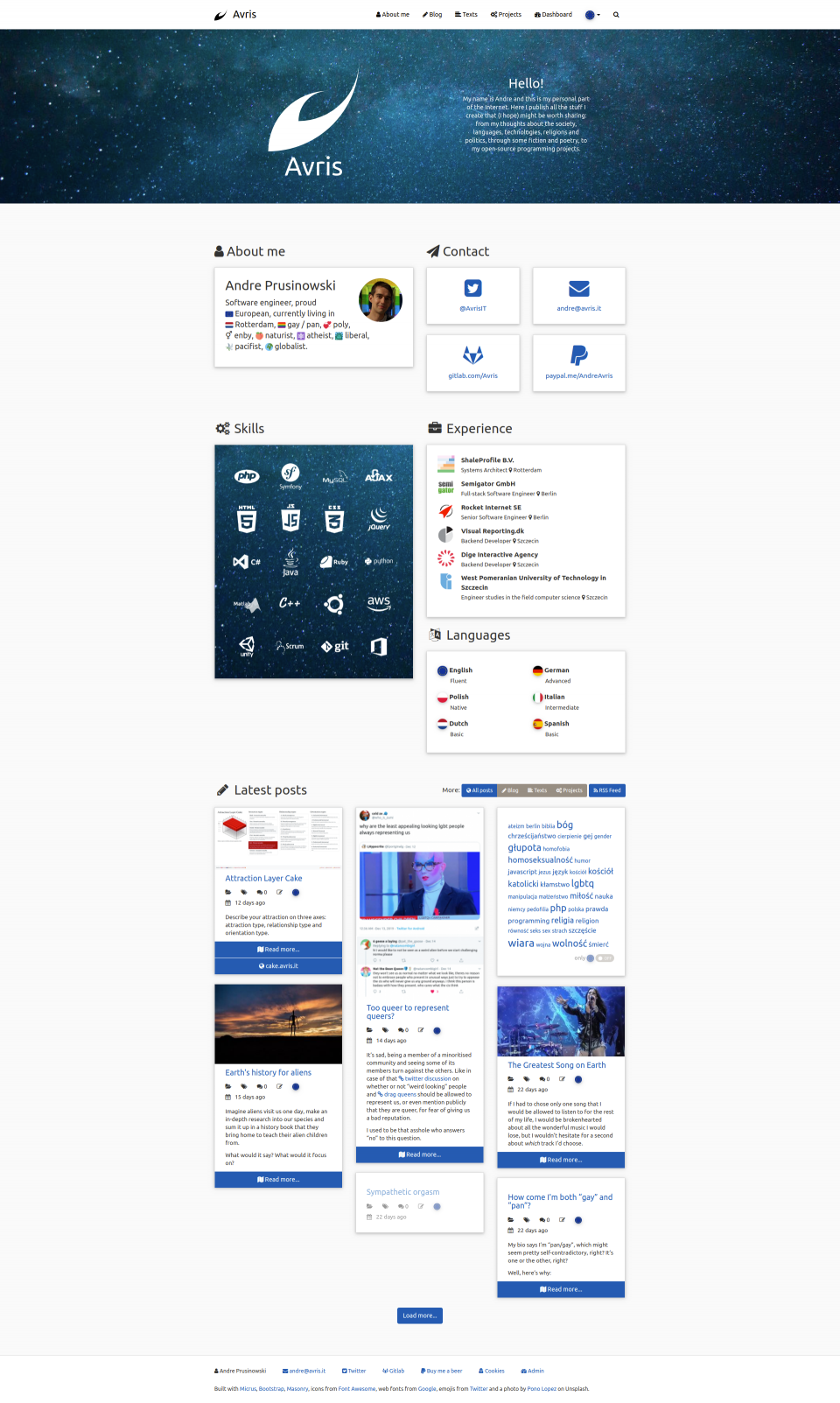 Screenshot of the homepage in version 3