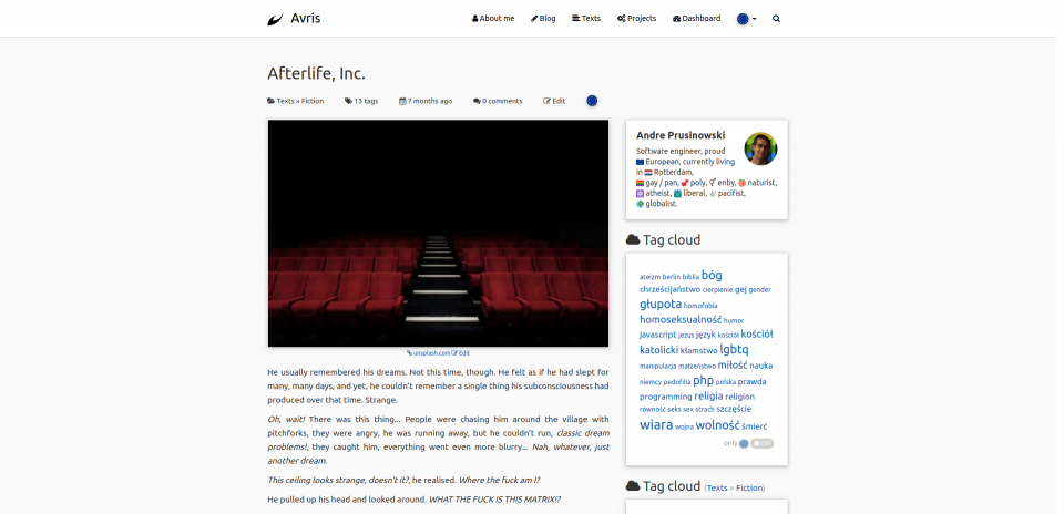 Screenshot of the top of the post page in version 3