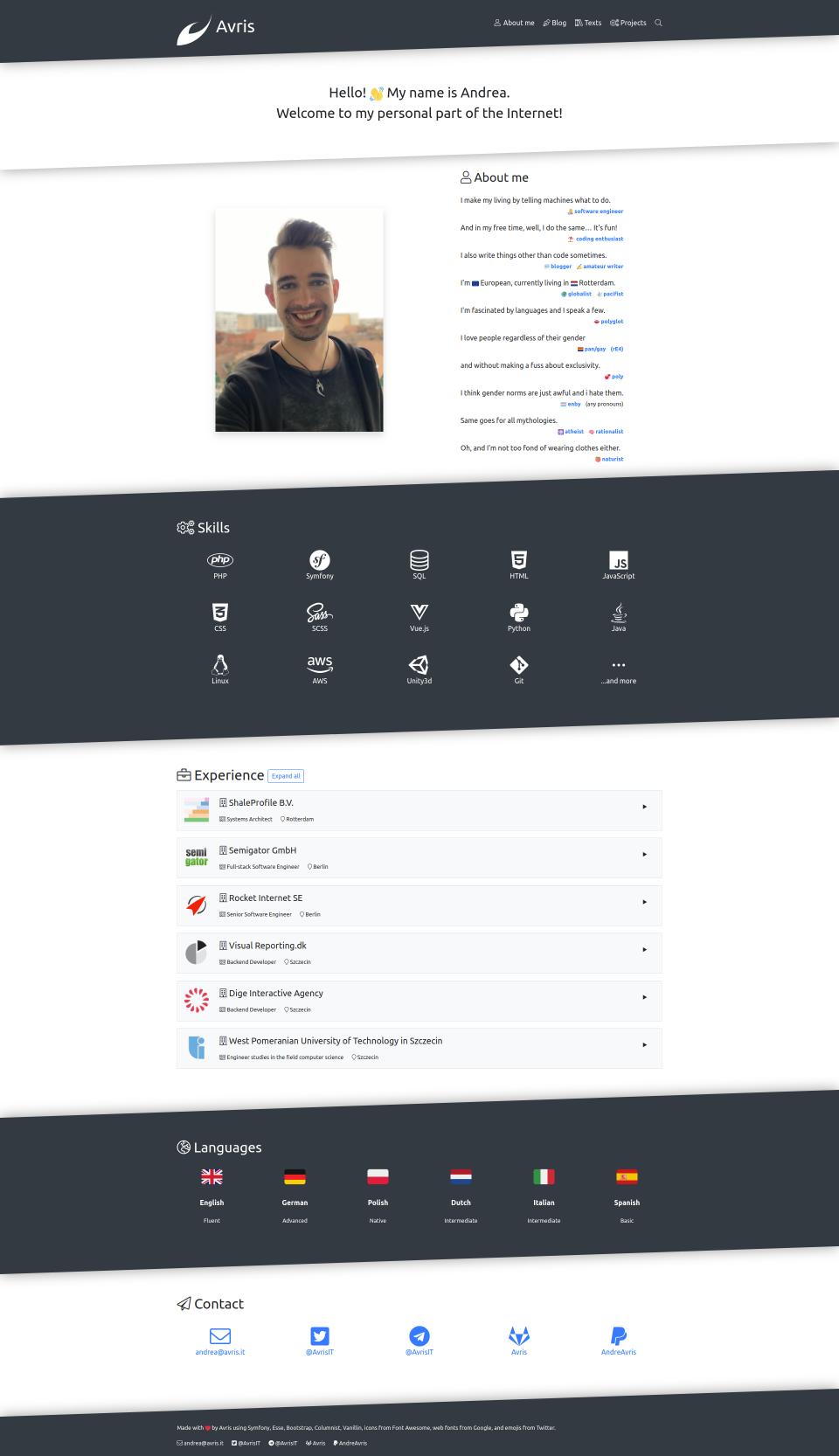 Screenshot of the homepage in version 4