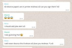 I will never divorce this lil whore xD (love you Andreas :*) xD
