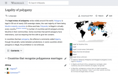 Wikipedia page: Legality of polygamy