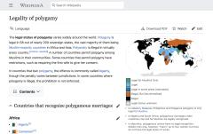 Wikipedia page: Legality of polygamy