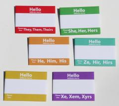 Name tags with pronouns specified