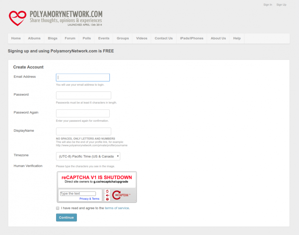 Screenshot of the registration form at polyamorynetwork.com