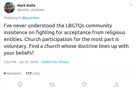 @emile_wickham on Twitter: I've never understood the LBGTQs community insistence on fighting for acceptance from religious entities. Church participation for the most part is voluntary. Find a church whose doctrine lines up with your beliefs?