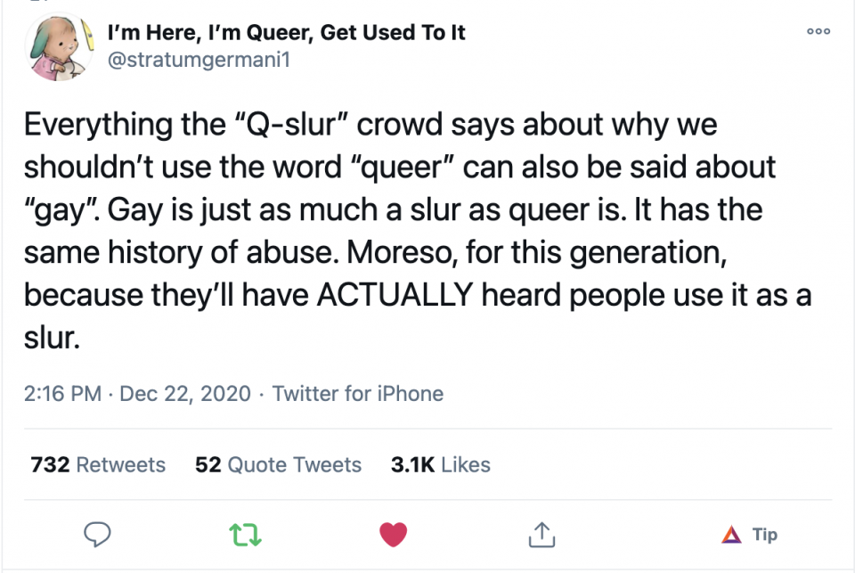 """@stratumgermani1 on Twitter: Everything the """"Q-slur"""" crowd says about why we shouldn't use the word """"queer"""" can also be said about """"gay"""". Gay is just as much a slur as queer is. It has the same history of abuse. Moreso, for this generation, because they'll have ACTUALLY heard people use it as a slur."""